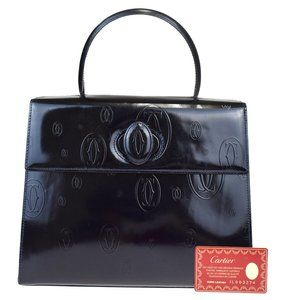 CARTIER 2C Happy Birthday Hand Bag Patent Leather